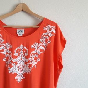 Ariat Orange Embroidered Top Sz XL